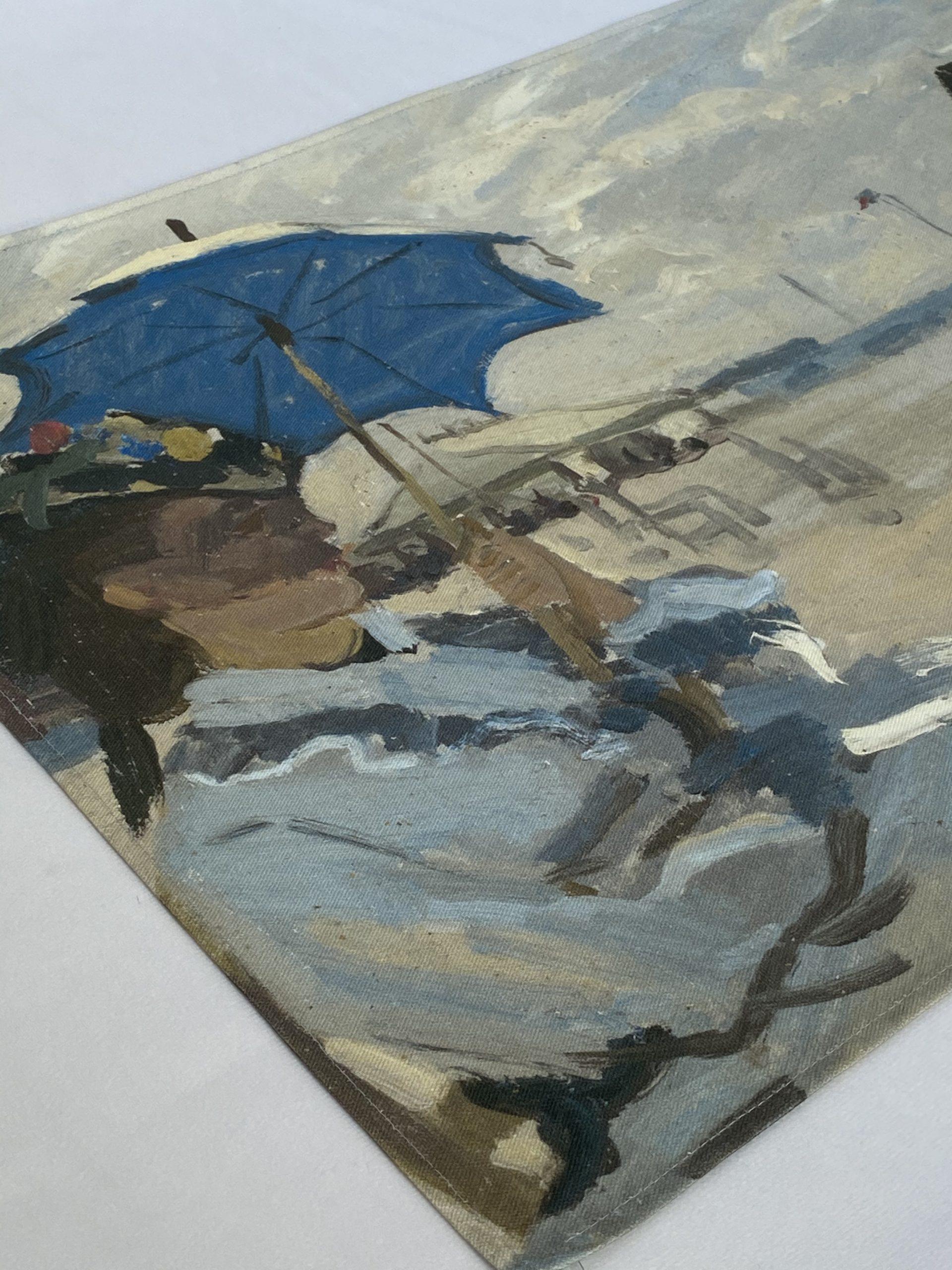 Claude Monet The Beach at Trouville organic tea towel
