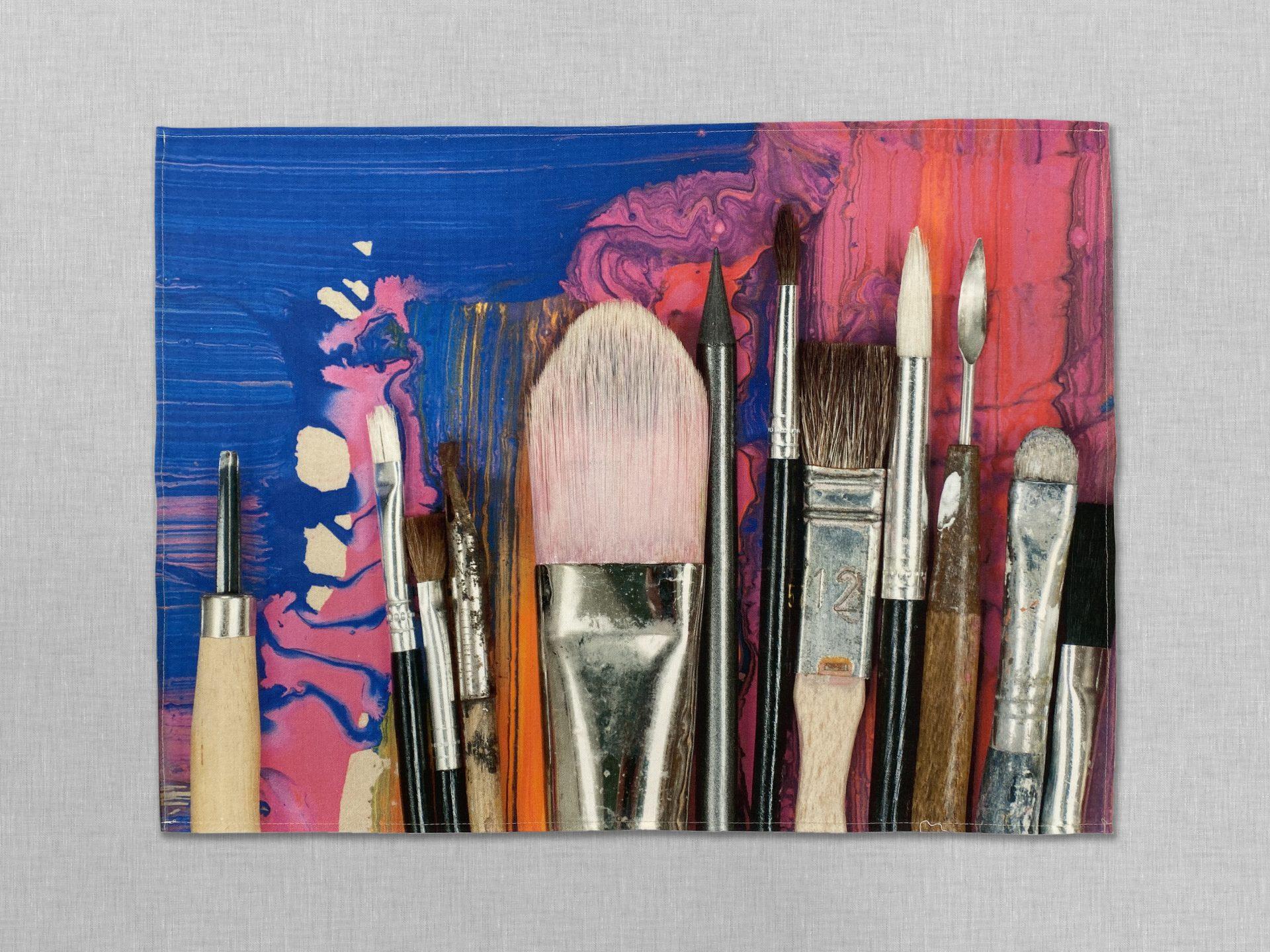 Ella Doran Paint Brushes Organic Tea Towel