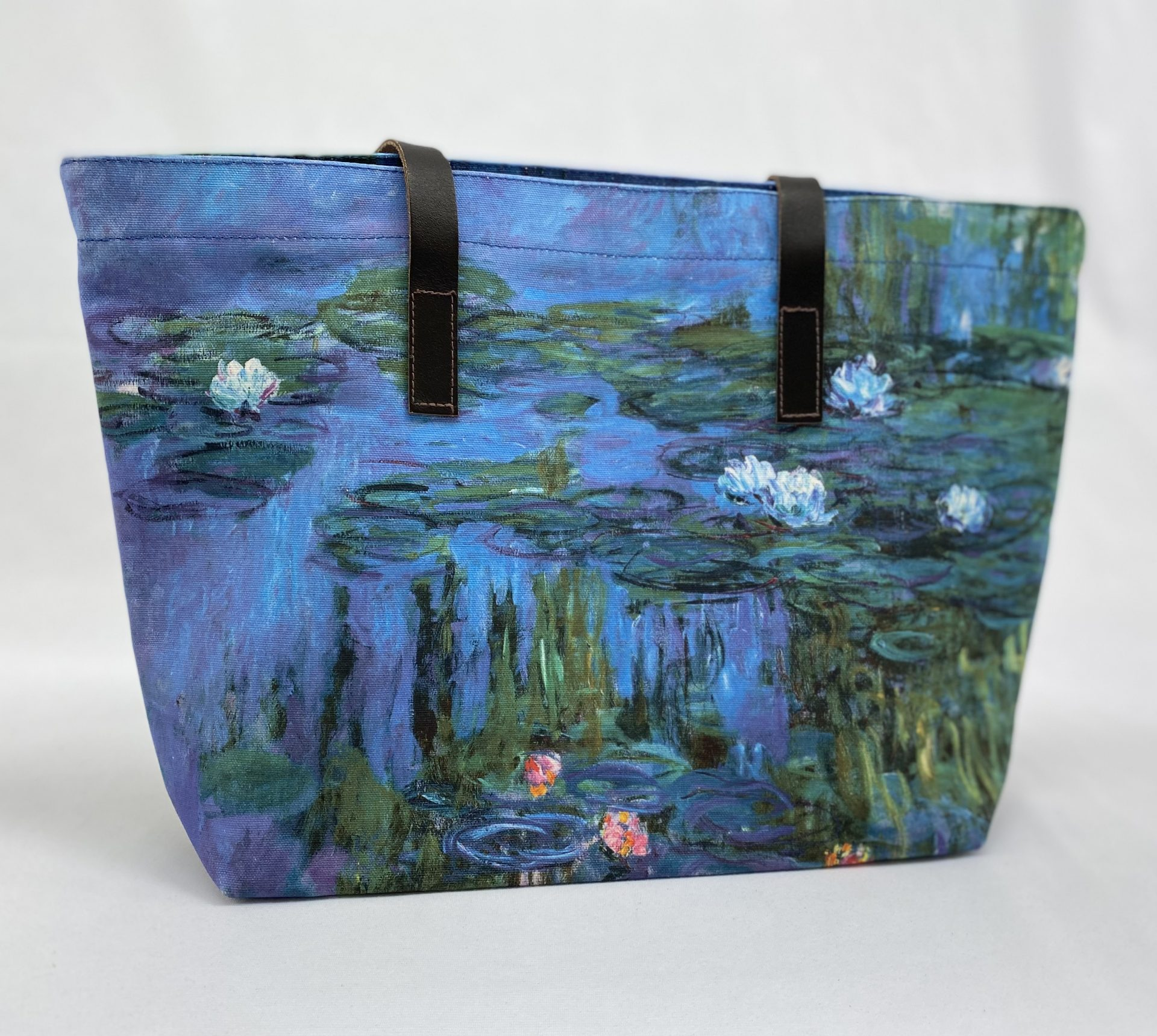 RA Monet Water Lilies tote bag with leather handles