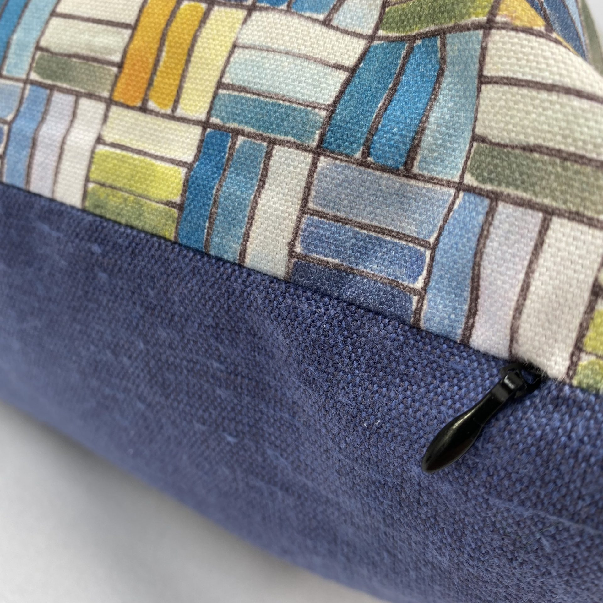 Digitaly printed textile cushion by Paul Bristow's
