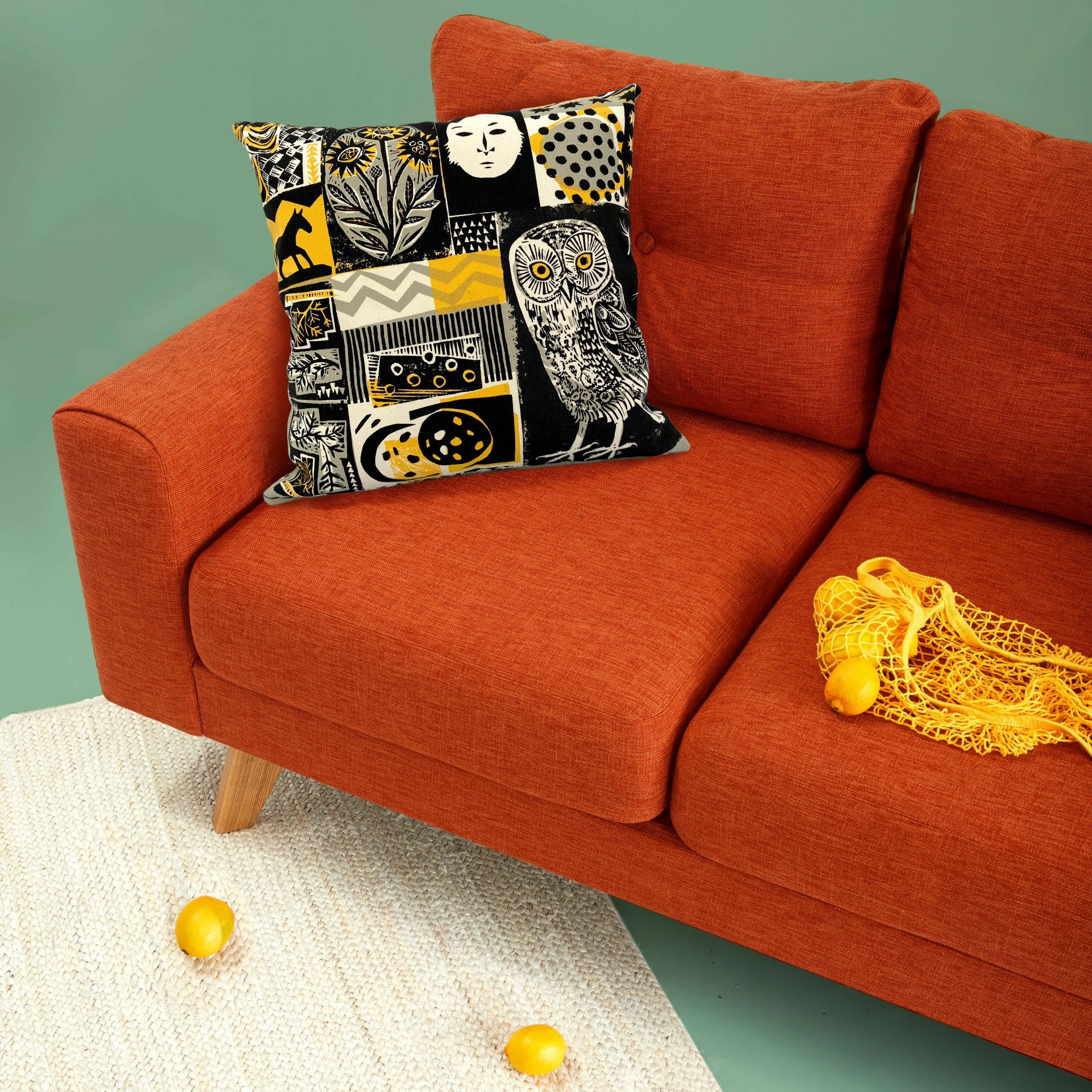 Screen printed merchandise cushion cover by Pul Bristow designed by Mark Herald for Tate