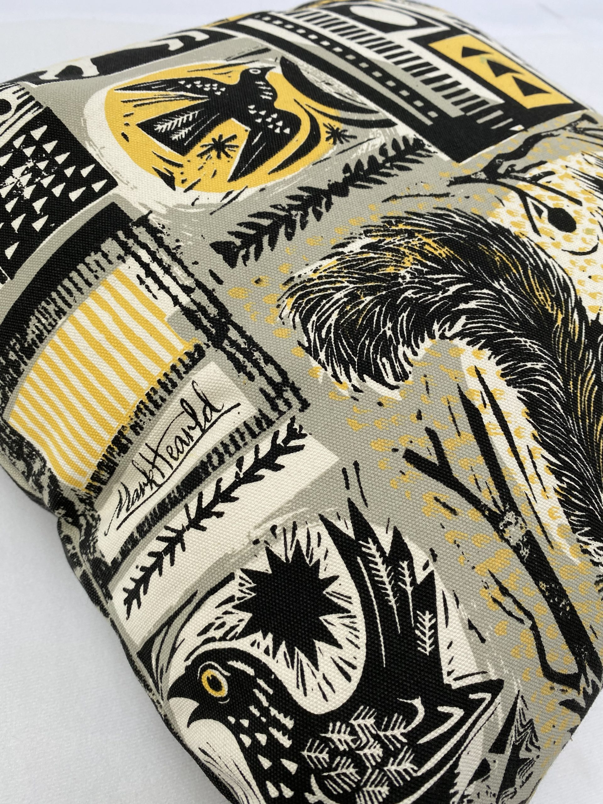 UK screen printed and made merchandise including cushion cover by Pul Bristow designed by Mark Herald for Tate