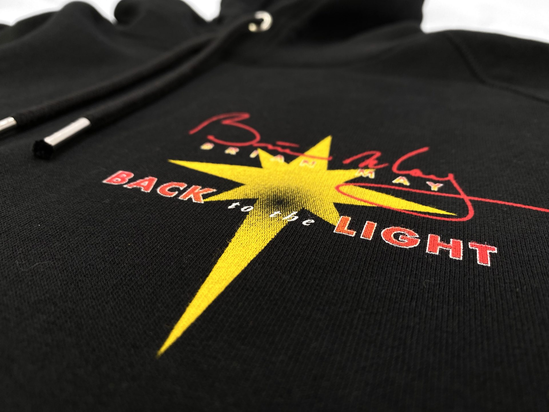 Back to the light, Brian May printed Hoody by Paul Bristow's, UK printers of textile merchandise