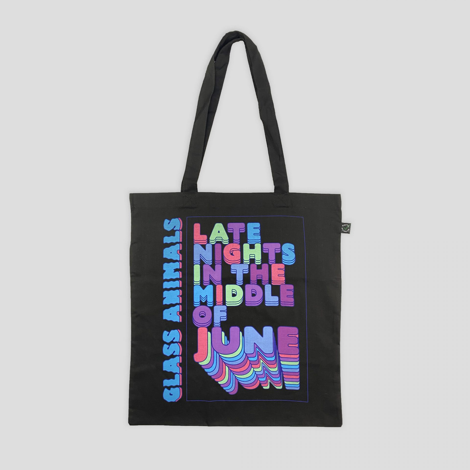 EarthPositive tote bag printed as part of Glass Animals merchandise range