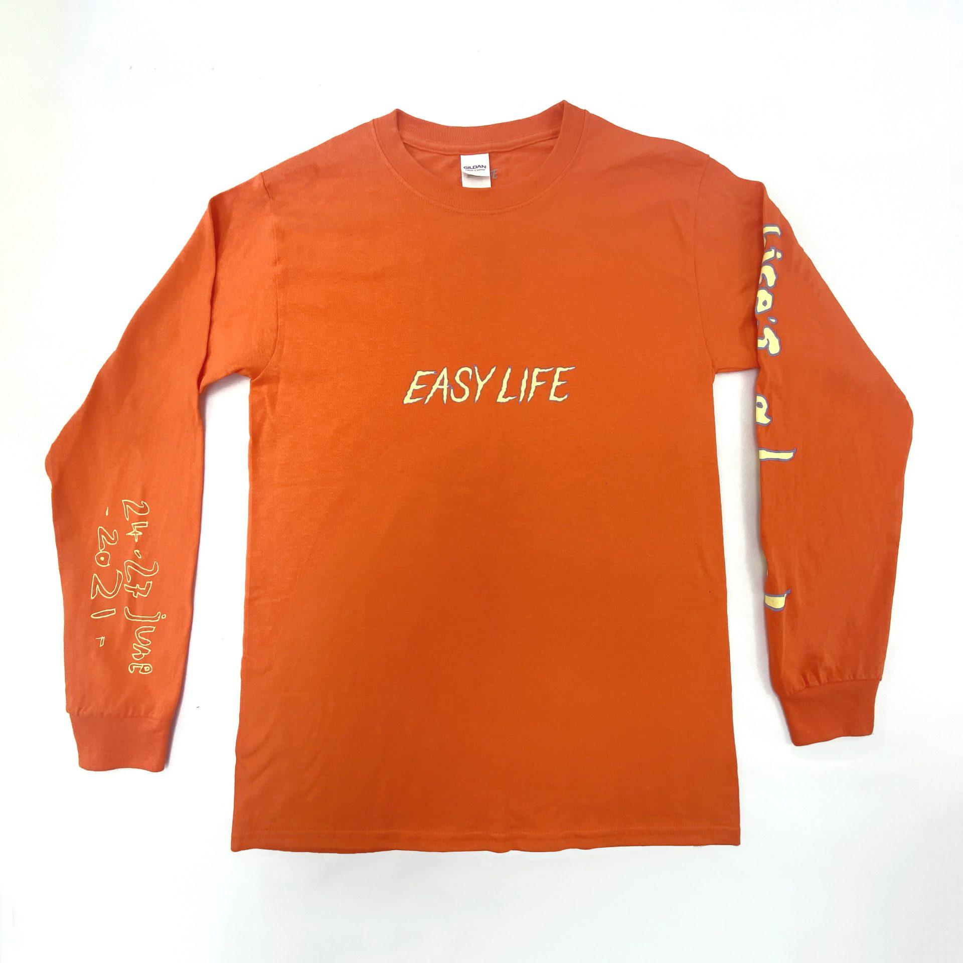 Orange Easy Life screen prnted apparel using water based inks