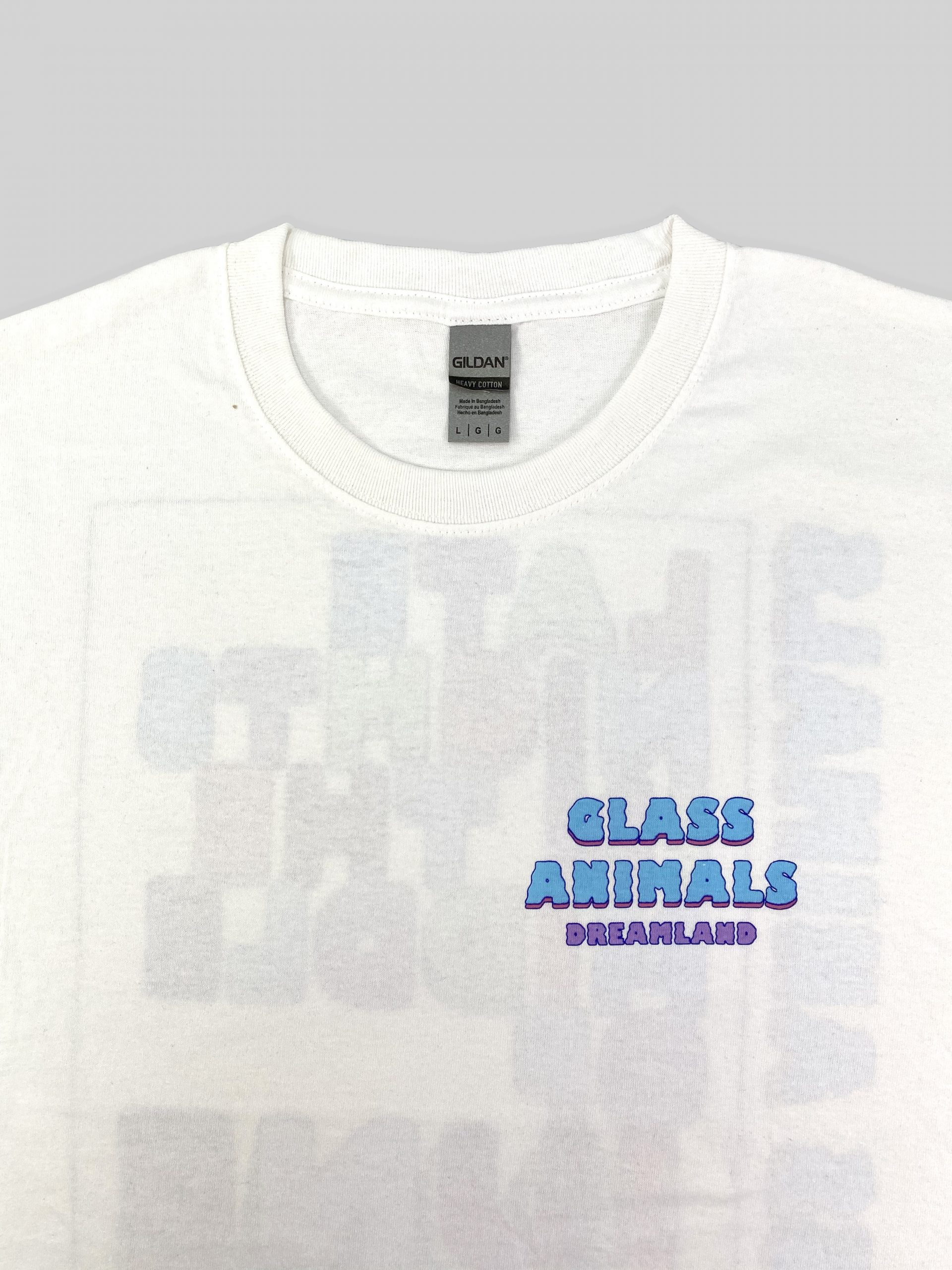 Screen printed front of t-shirt on a Gildan Heavy tee
