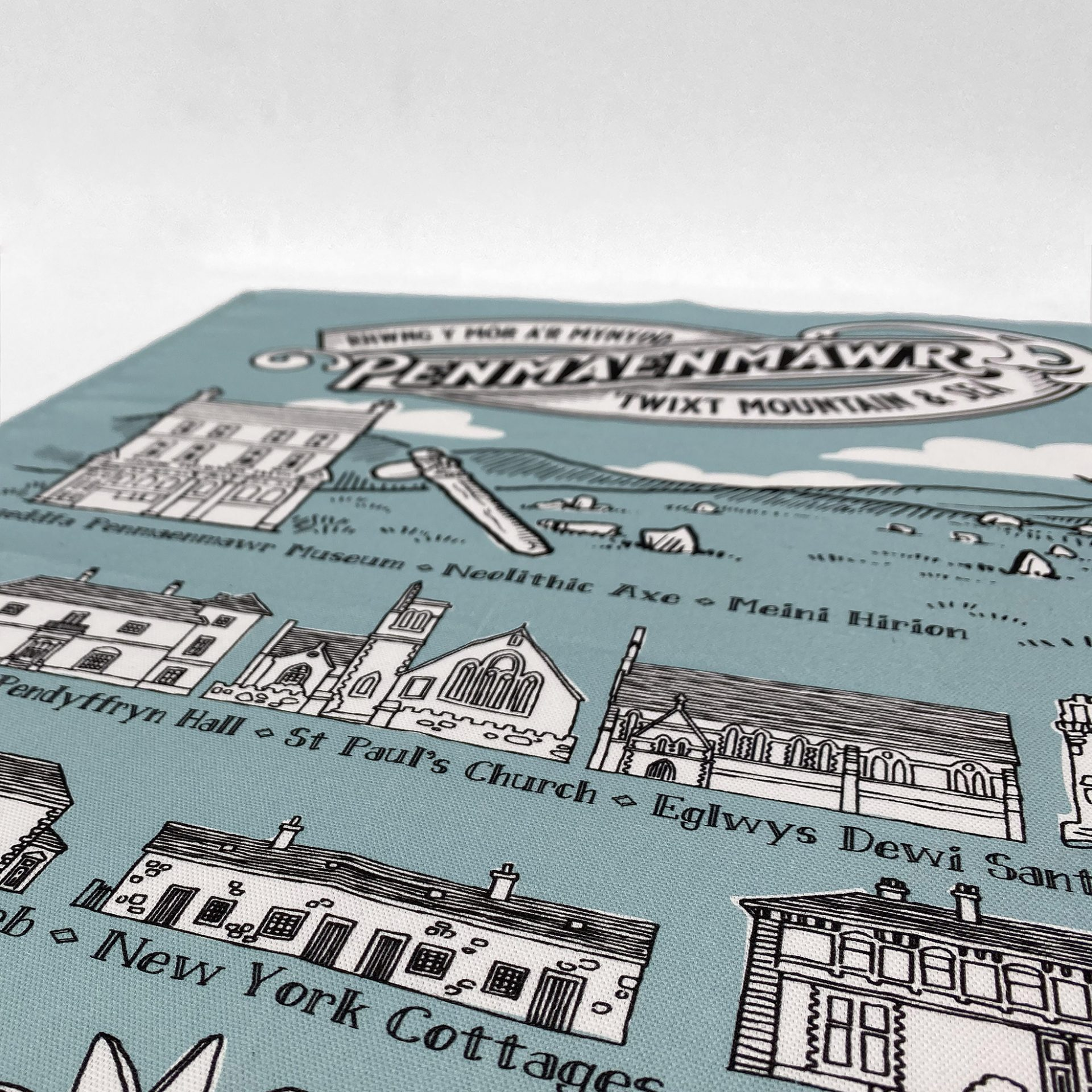 Beautiful digitally printed tea towel for made and printed in Wales by Paul Bristow