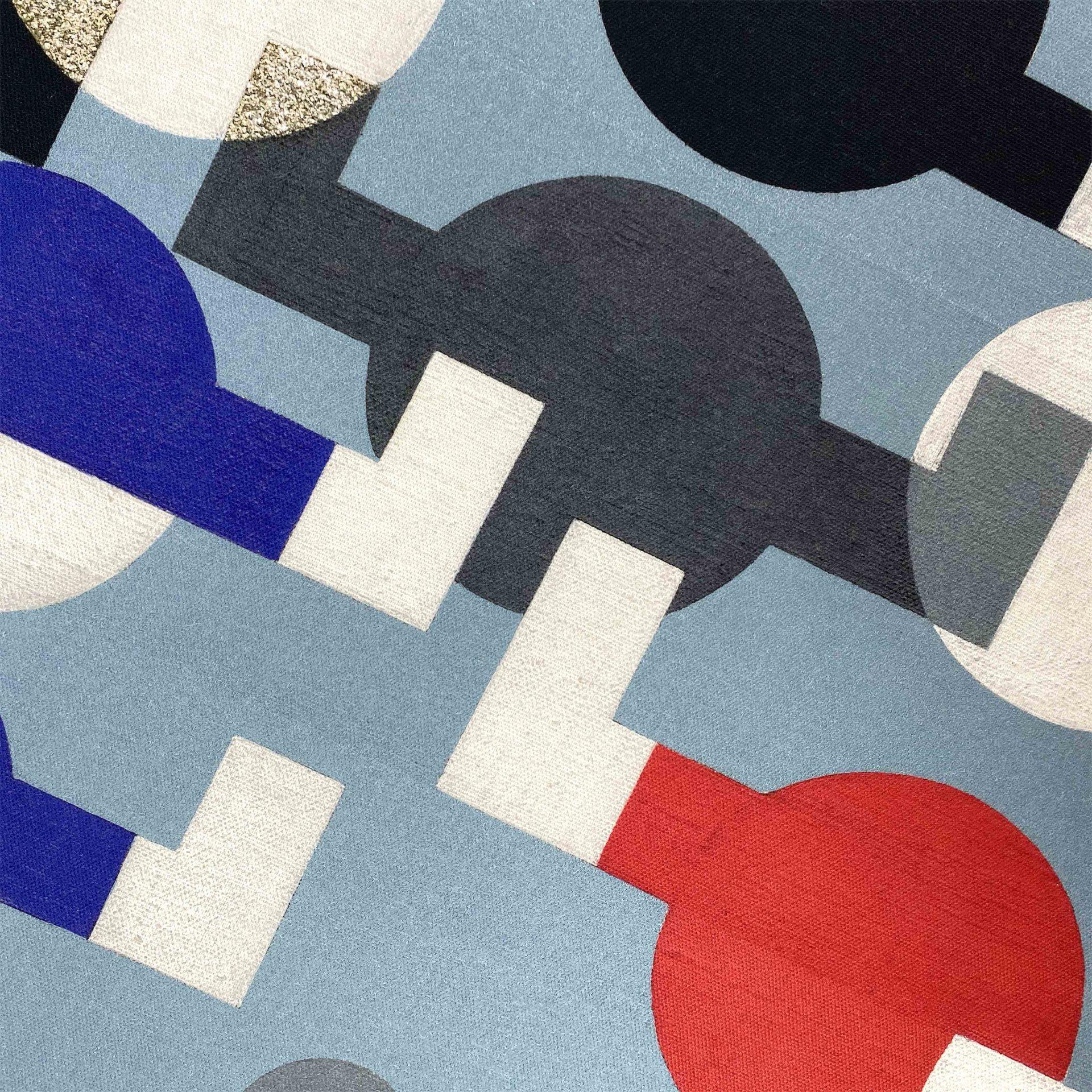 Close up of the printed tea towel for Tate Enterprises Sophie Tauber