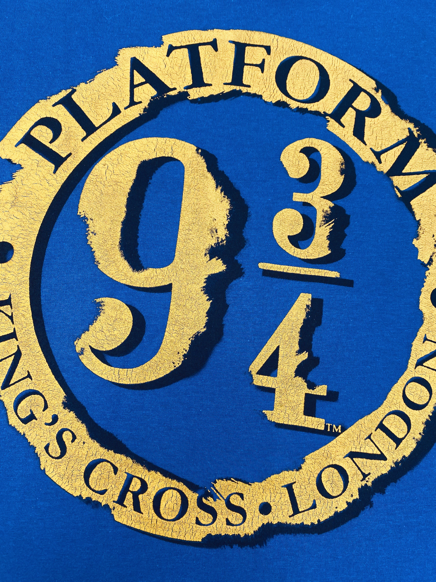 Cracking inks used on a t-shirt for Platform 9 3:4 by Paul Brsitow