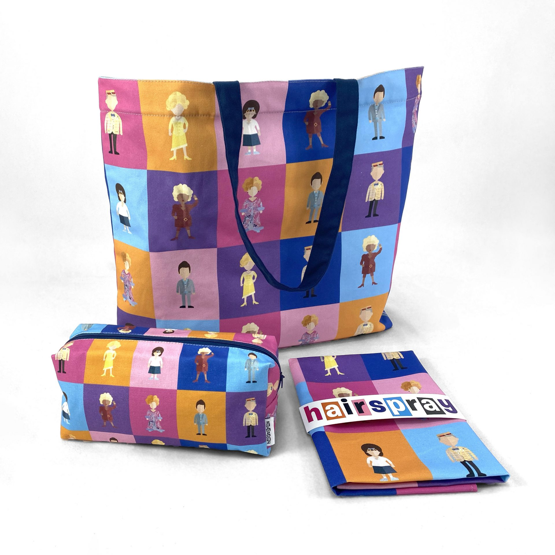 Hairspray collection of printed textile merchandise including a tote Bag, box cosmetic bag and tea towel