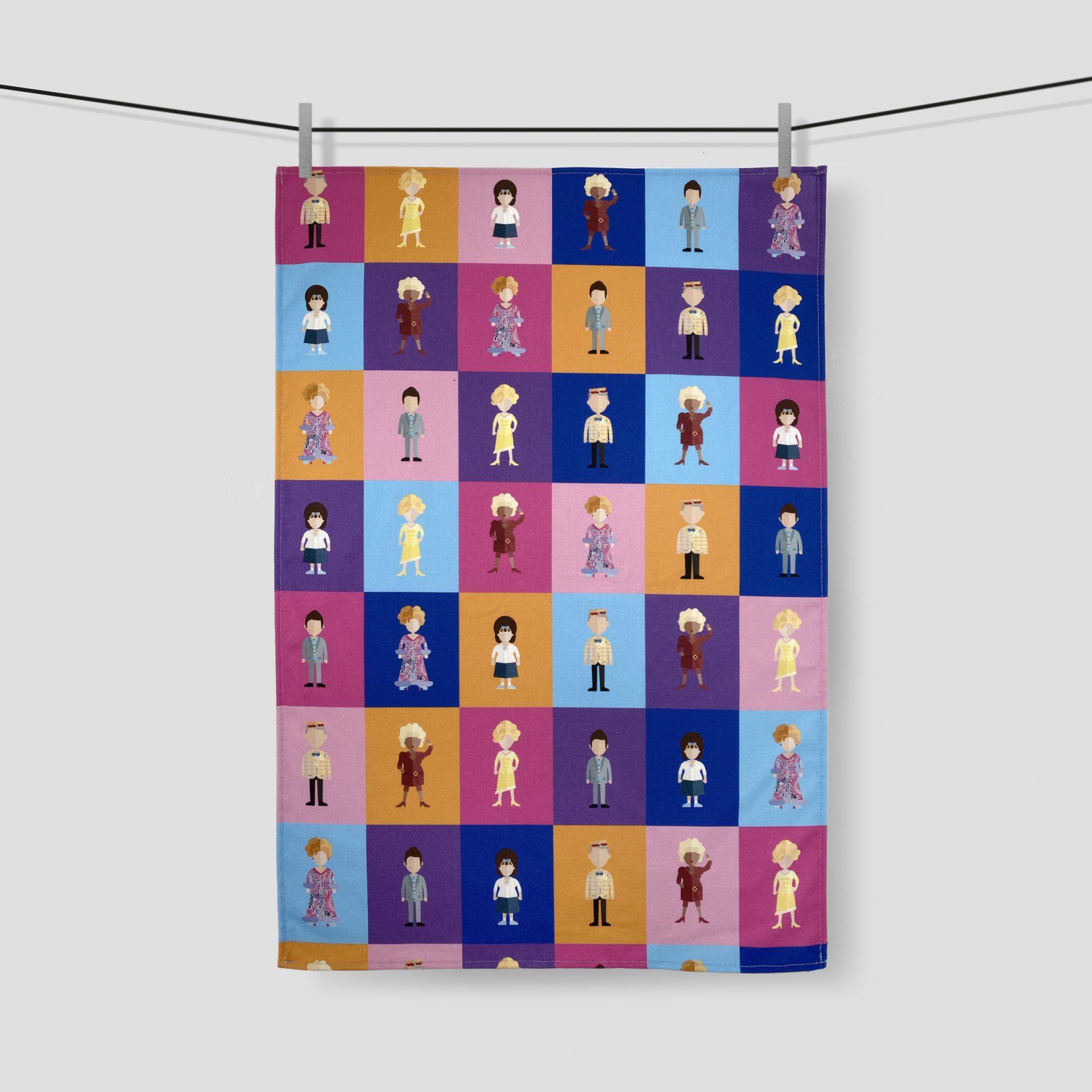 Hairspray prnted tea towel made in the UK by Paul Brisotw's