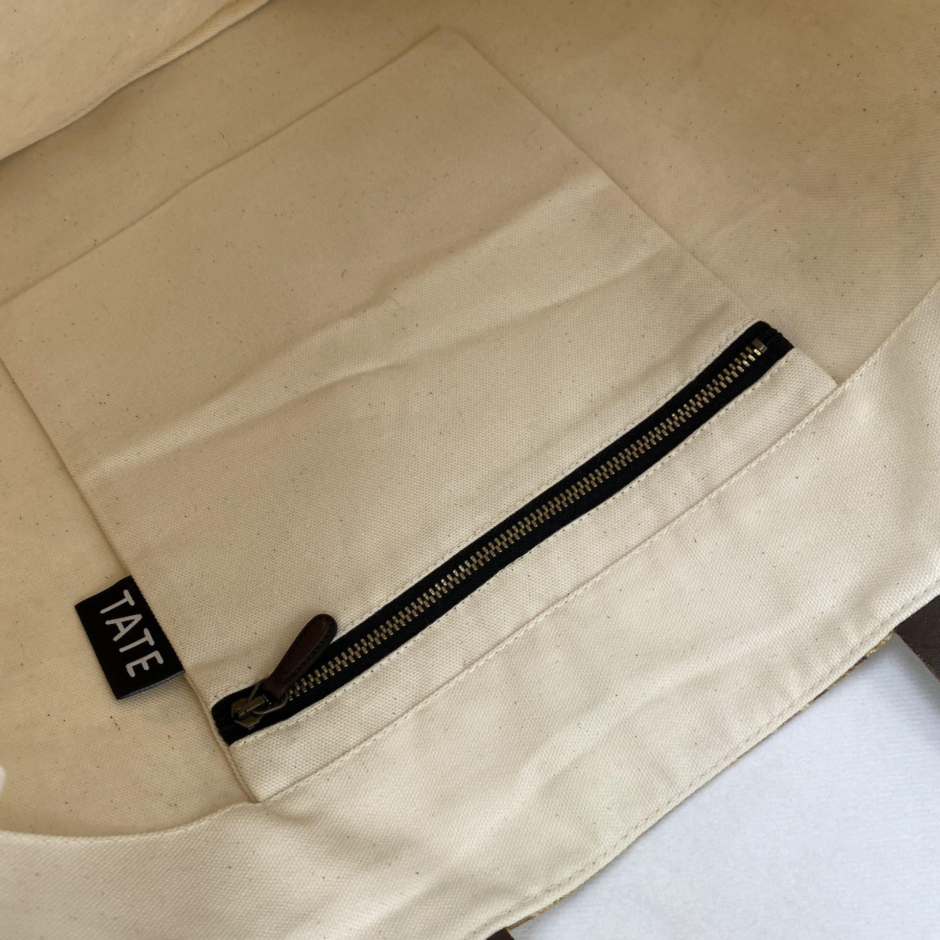 Leather pulled zip pocket in a luxury tote bag for the Tate by Paul Bristow's