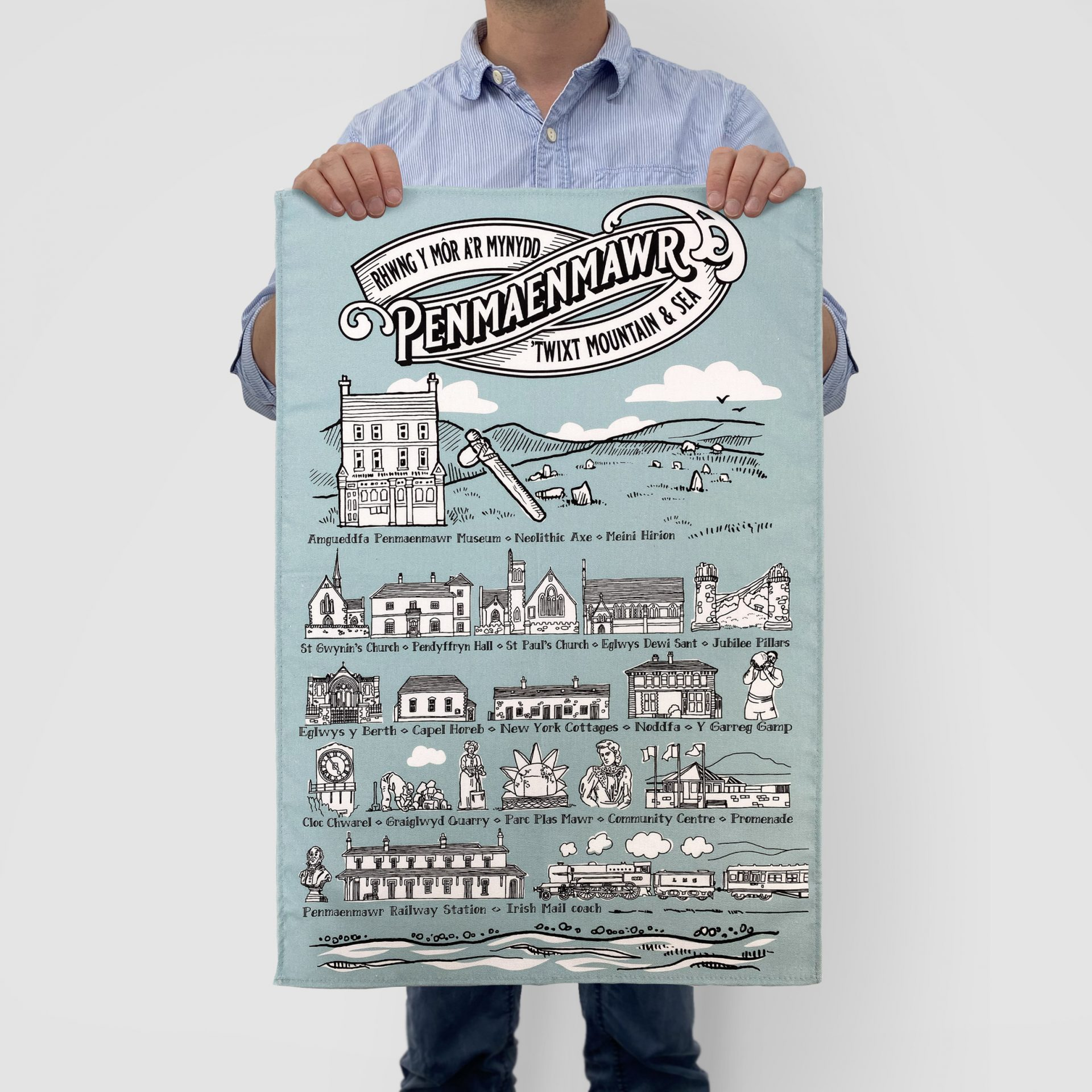 Printed tea towel made in Wales for the Penmaenmawr Musuem