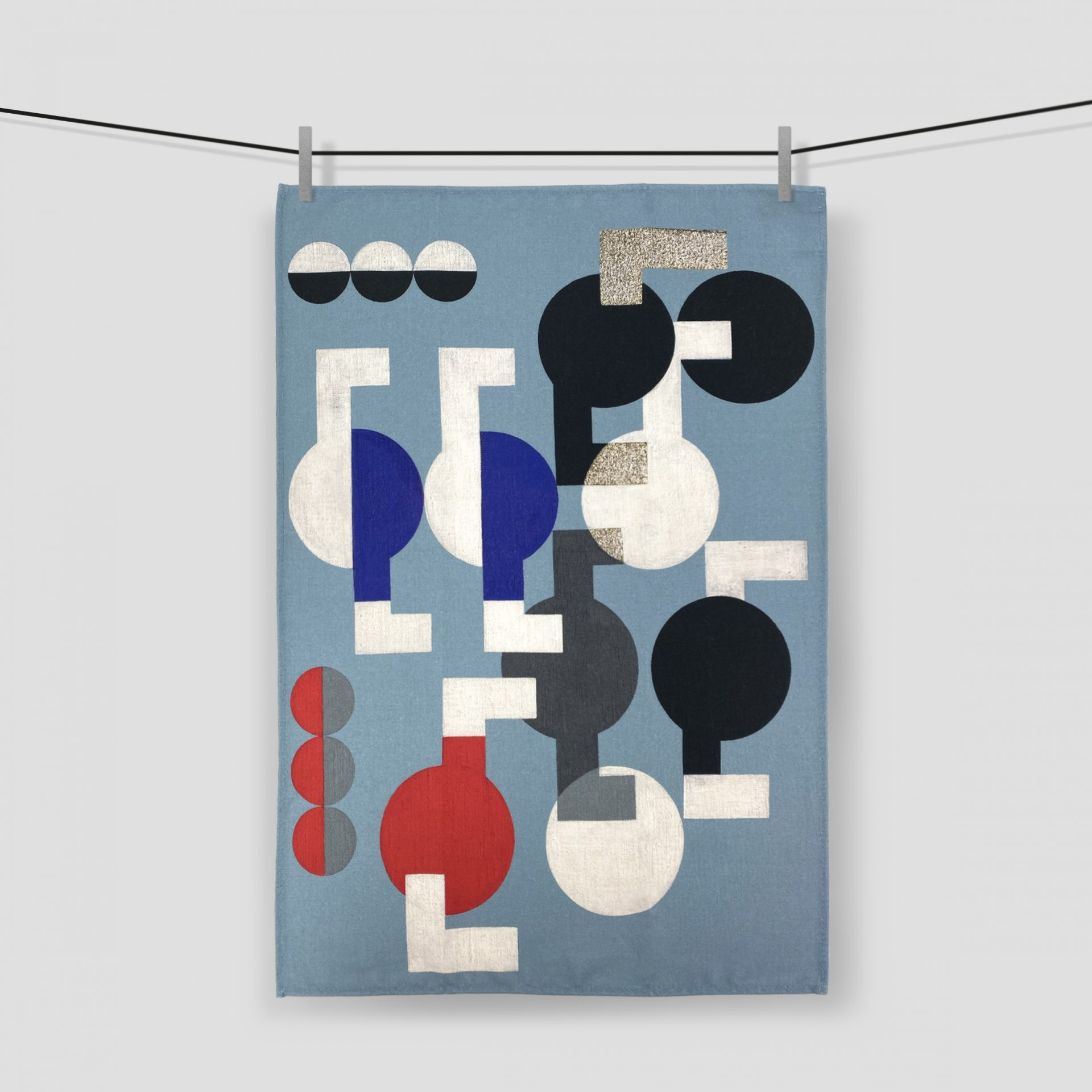 Printed tea towels made in the UK for the Tate Enterprises Sophie Tauber