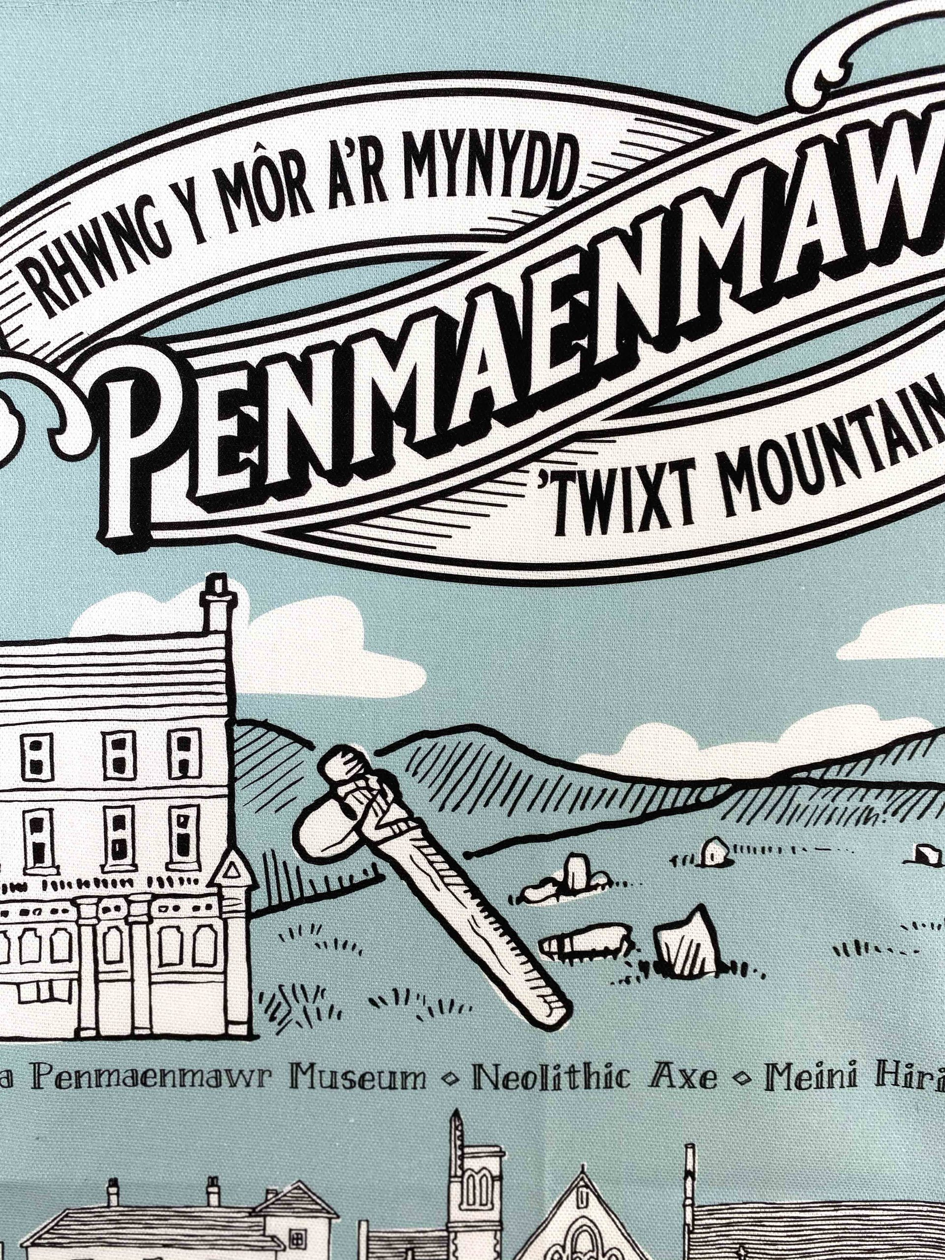 Printed tea towles by Paul Bristow's made in Wales for the Penmaenmawr musuem
