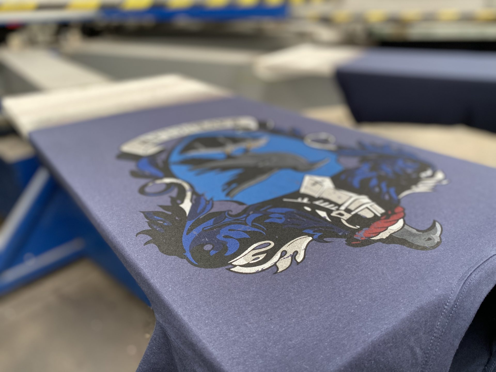 Ravenclaw t-shirt with metallic ink details on the printing press at Paul Britow's